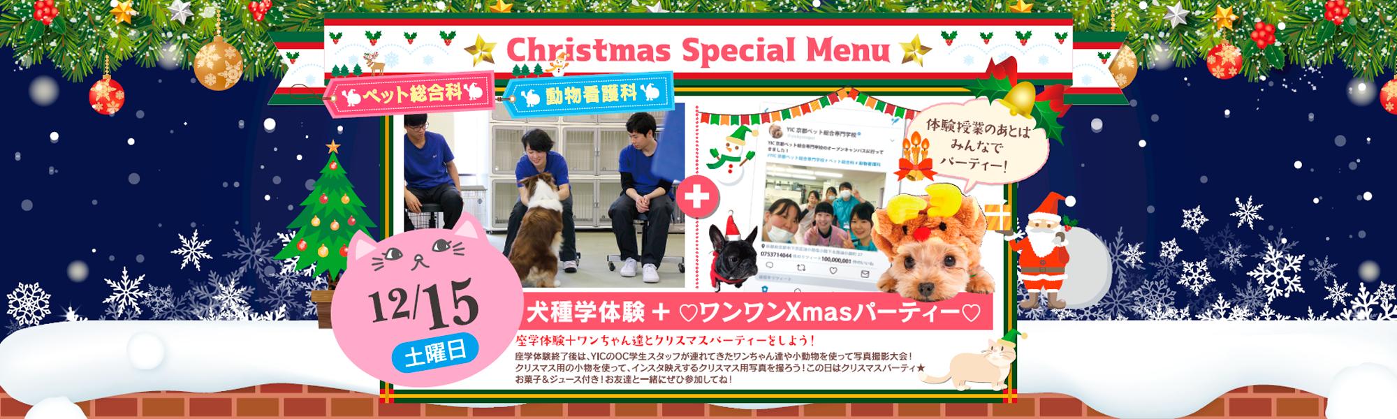 クリスマススペシャルメニュー!12月15日犬種学体験+ワンワンXmasパーティー